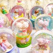 可爱卡通水晶球礼物玻璃球摆件生日情人节圣诞新年小号现货 特价