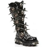 NewRock金属风铆钉骷髅高筒战靴 情侣靴 未来款 真皮中筒男靴子