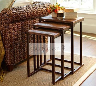 特价美式简约边几复古客厅方几实木茶几铁艺做旧小方桌沙发角几销量排行