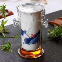 Porcelain plaque blue and white ceramic black tea tea with tea leaves elegant and exquisite cup glass teapot liner filter tea