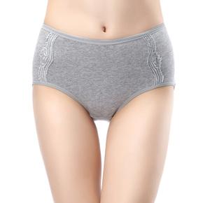 新款全棉女士性感三角内裤女式中腰纯色大码纯棉莱卡弹力三角裤