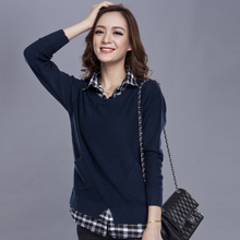 宽松针织衫 衬衫 领假两件中长毛衣外套 2014 女装 新款 大码 韩版 秋装