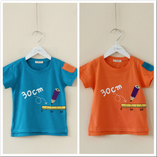 出口男童夏季拼色小口袋舒适短袖t恤卡通动漫圆领韩版蓝色橙色