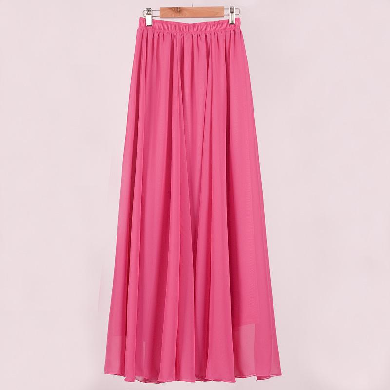 粉色百褶雪纺半身裙