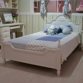 1.2米橡木床现代简约白色烤漆韩式田园公主床高箱储物床1.5/1.8米