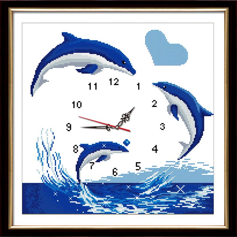 十字绣动物系列钟表