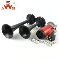 Five lion electric air horn 12V car motorcycle electric car horn 24V modified high and low whistle air pump push