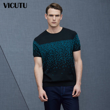 VICUTU/威可多男士夏时尚印花短针织圆领纯棉短袖针织