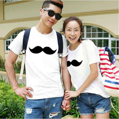 欧美简约小胡子情侣装短袖浪漫爱情旅游户外舒适学生青少年棉t恤