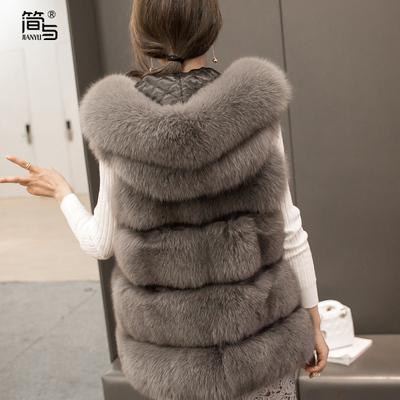 简与2016新款仿狐狸毛 马夹中长款 短款毛毛外套皮草女士秋冬修身