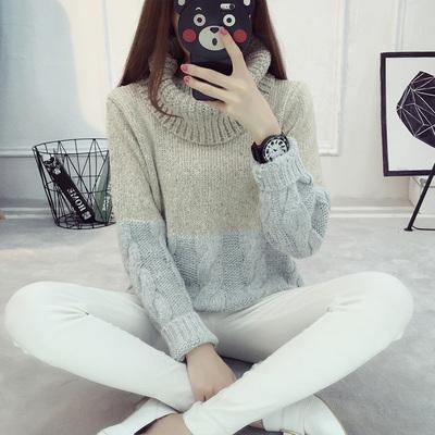 外穿高领韩版宽松秋冬款套头毛衣女短款保暖加厚复古冬天学生外套