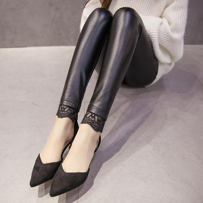 弹力PU皮裤女春秋装薄款蕾丝花边外穿打底裤紧身冬小脚裤高腰显瘦