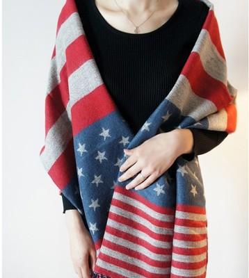 加厚美国国旗仿羊绒毛呢秋冬季五角星星围巾披肩两用超长围脖男女