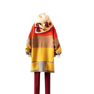 慈颜孕妇装 秋冬装宽条纹厚款宽松慵懒蝙蝠袖毛衣日系女LXJ001