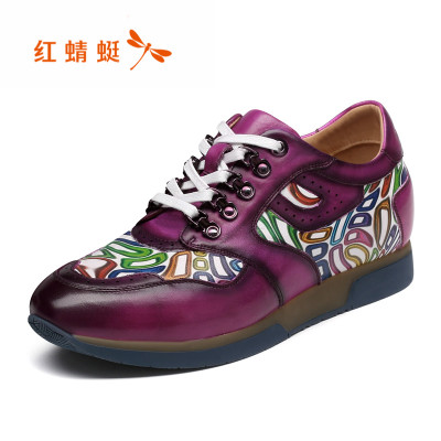 红蜻蜓男鞋 春秋新款韩版印花户外运动风增高板鞋 真皮休闲鞋潮鞋