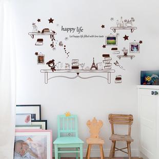 卡通创意个性简约欧式小熊书架墙贴 卧室客厅背景墙贴纸自粘墙画
