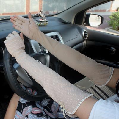 夏季防晒手套女薄长款纯棉防滑袖套开车手臂套露半指护袖