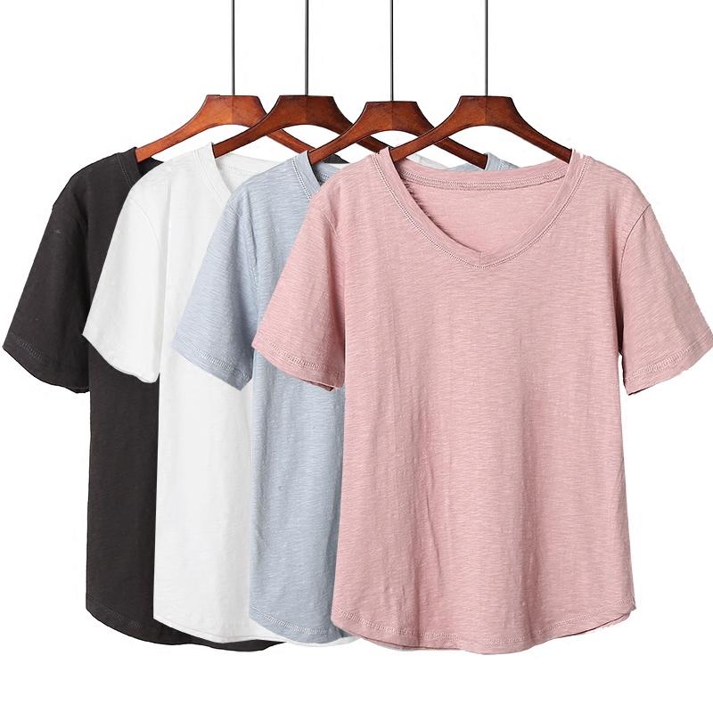 T恤女短袖宽松半袖纯棉大码条纹纯白色上衣女装夏打底衫韩版V领5元优惠券