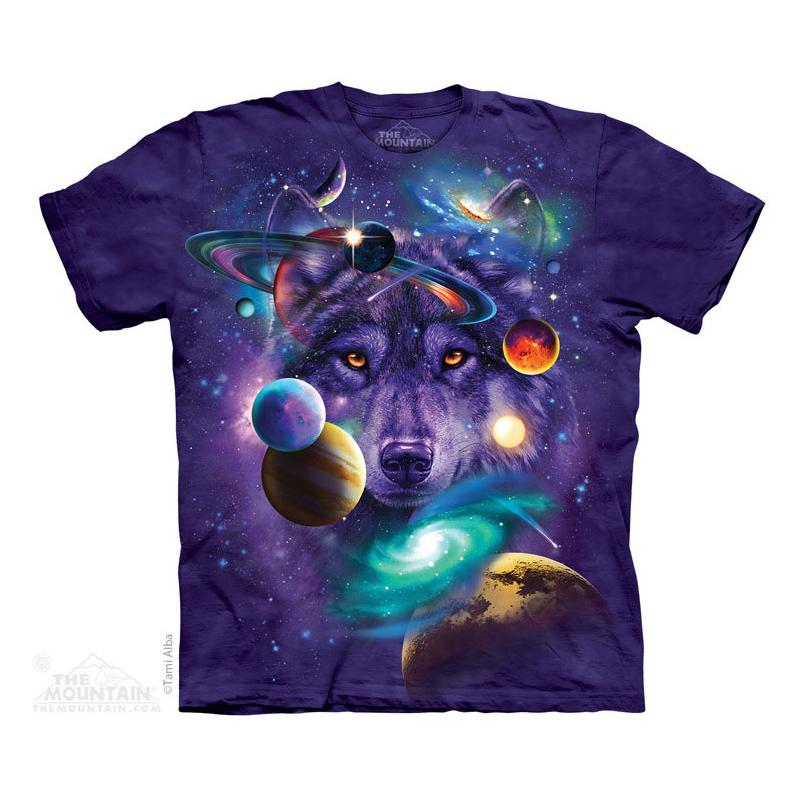 2019新款the mountain 美国大码创意紫色宇宙星际狼 全棉男款t恤