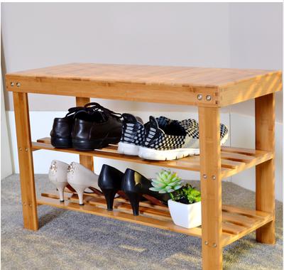 楠竹换鞋凳穿鞋凳鞋架子实木多功能田园置物架储物收纳鞋柜特价新款推荐