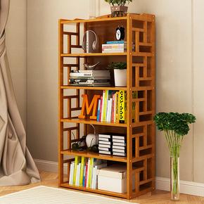 多层简易书架新中式古典风格仿古装饰架四层架文件架竹木置物架