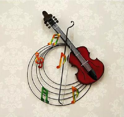 包邮创意欧式铁艺小提琴壁挂咖啡厅休闲吧家居壁饰客厅背景墙饰品最新报价