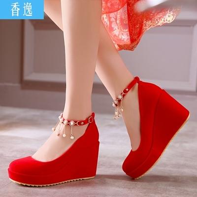 韩版甜美公主婚鞋坡跟厚底防水台低帮鞋红色婚礼鞋串珠扣带女单鞋