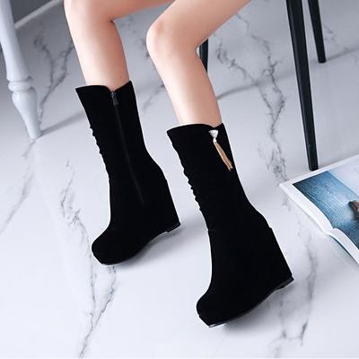 中靴女秋冬韩版圆头坡跟中筒靴子厚底防水台高跟鞋磨砂保暖骑士靴