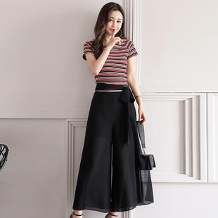 2017尚娜萱夏装新款1061时尚套装条纹短袖上衣配阔腿裤裙裤显瘦