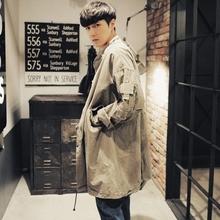 春装新款大码男装中长款风衣外套男韩版宽松做旧立领工装青年大衣
