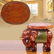金传承欧式仿实木大象换鞋凳子复古客厅创意摆件结婚礼物乔迁礼品