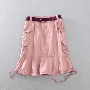 春夏新款森女时尚百搭鱼尾裙水洗棉气质显瘦半身裙女