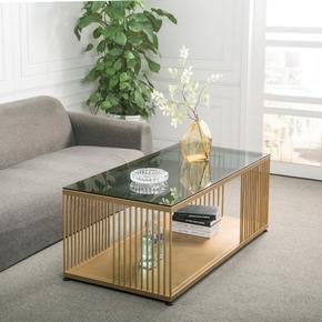 北欧钢化玻璃铁艺茶几双层客厅办公室长方形茶桌大小户型创意家具