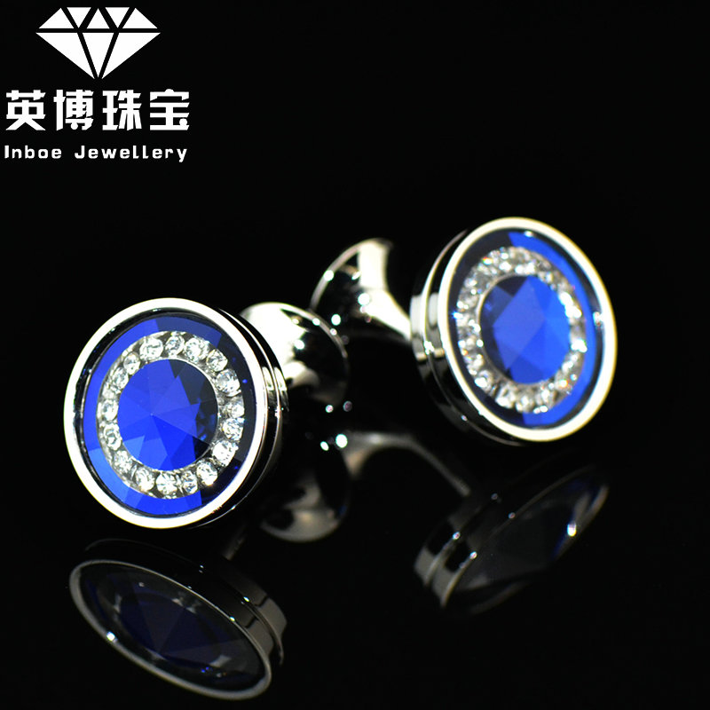 体验价!英博 Cufflinks 精致 水晶蓝色袖扣 男士法式衬衫 袖钉