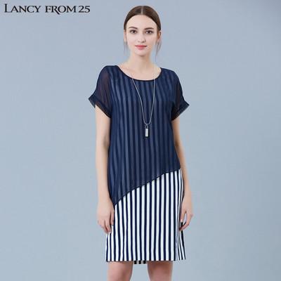 LANCY朗姿2017新女夏竖条纹薄纱外罩假两件式连衣裙LC16204WOP115