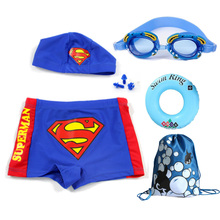 Baggage Children's Swimming Suit Boys Superman Flat-angle Swimming Trousers Large and Medium-sized Children Swimming Equipped with Swimming Mirror and Cap Suit