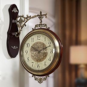 欧式双面挂钟实木金属静音美式客厅两面家用挂表石英钟表大号时钟
