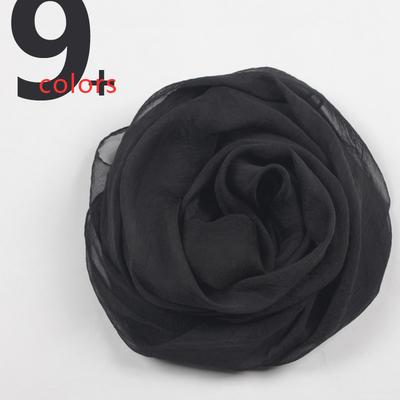 小雪纺丝巾围巾春夏秋冬季女士长款纱巾纯色素色防晒黑色薄款百搭
