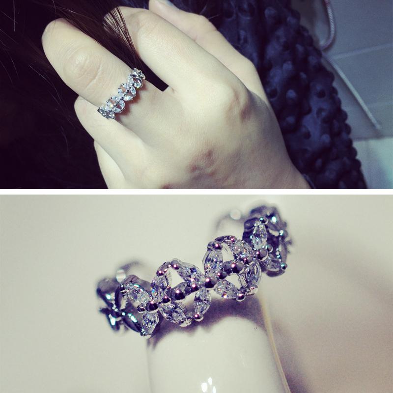 韩国  锆石小花 交叉戒指 指环 开口可调节 新品