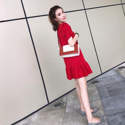 ins超火裙子学院夏季高腰小个子温柔超仙女学生极简冷淡风连衣裙