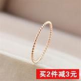 日韩18K玫瑰金戒指女超细麻花钛钢个性学生食指指环尾戒公主礼物