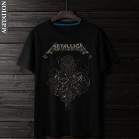 夏季新款摇滚重金属乐队Metallica主题印花T恤 纯棉圆领短袖男