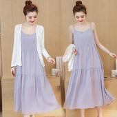 孕妇装夏装新品吊带裙两件套时尚雪纺背心连衣裙韩版大码宽松长裙