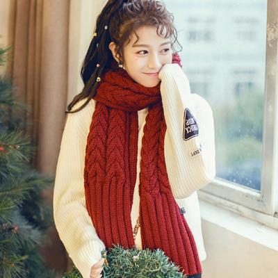 冬季男女士韩版长款加厚毛线围巾麻花纹针织丝巾披肩围脖情侣百搭