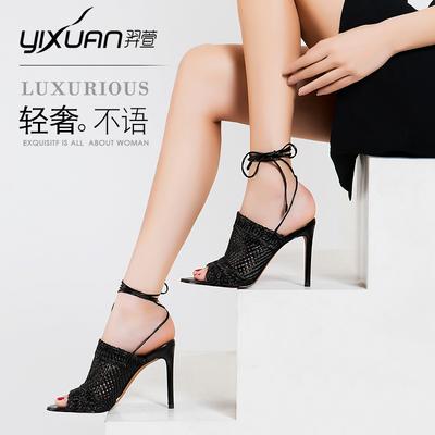 羿萱18年夏季女凉鞋欧美时尚性感绑带高跟鞋夜店细跟鱼嘴鞋女鞋子