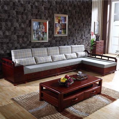 简约客厅实木沙发全柏木沙发组合带妃沙发带抽屉凉椅五包到家S01品牌巨惠