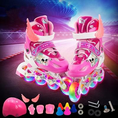 旱冰5女童紫色6流留汗划8小女孩10岁儿童溜冰鞋2全套装3男童4轮滑