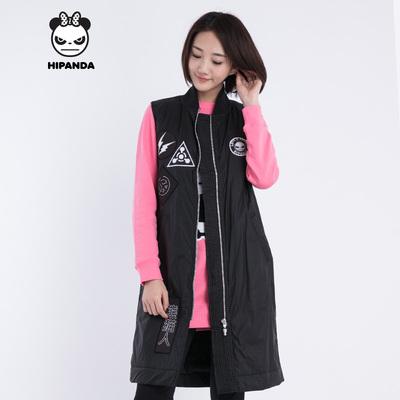 HIPANDA 你好熊猫  设计潮牌 女款  秋冬 长款棉服马甲