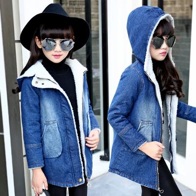 女童牛仔大衣2018秋冬女童外套加绒加厚冬季儿童中长款韩版上衣