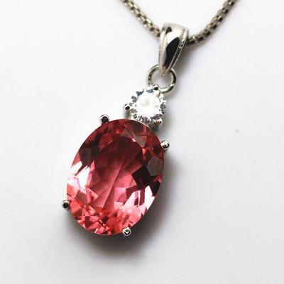 椭圆形粉色摩根石吊坠项链日韩彩色宝石首饰女款纯银镀18K金简约